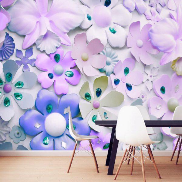 3D Fototapetas kambariui su gėlių žiedais