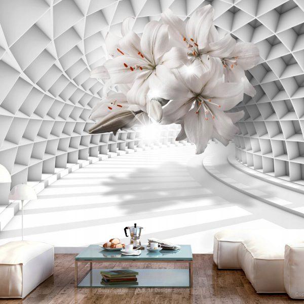 3D Fototapetas kambaryje (tunelis, gėlių žiedai)