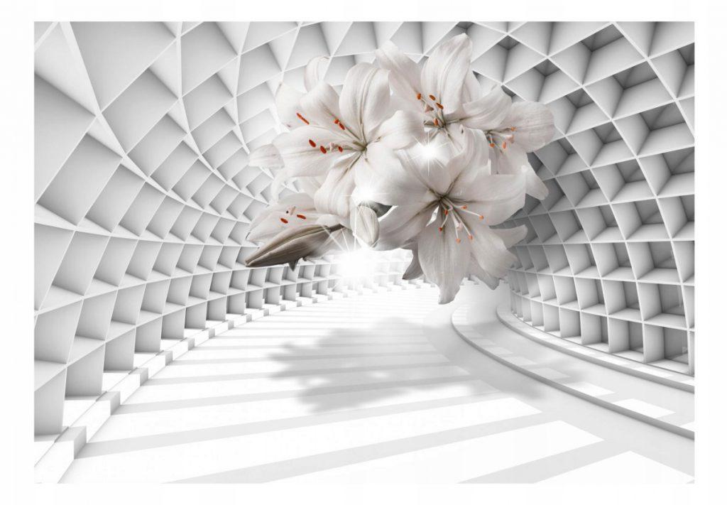 3D Fototapetas, tunelis, gėlės - lelijos