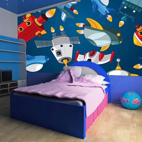 Fototapetas, kosmosas, erdvėlaiviai vaikų kambaryje