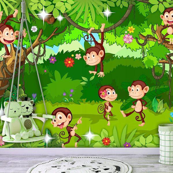 fototapetas Linksmosios beždžionėlės vaikų kambariui