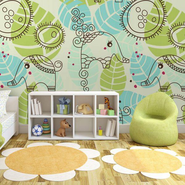 Fototapetas piešti drambliai vaikų kambaryje