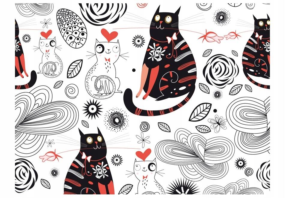 Fototapetas su katinais (juoda, balta, raudona)