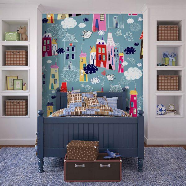 Fototapetas su miestu vaikų kambaryje prie lovos