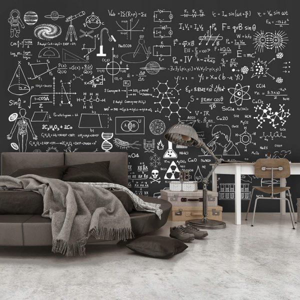 """Fototapetas vaiko kambaryje """"mokslas"""" (fizika, chemija, matematika, biologija)"""