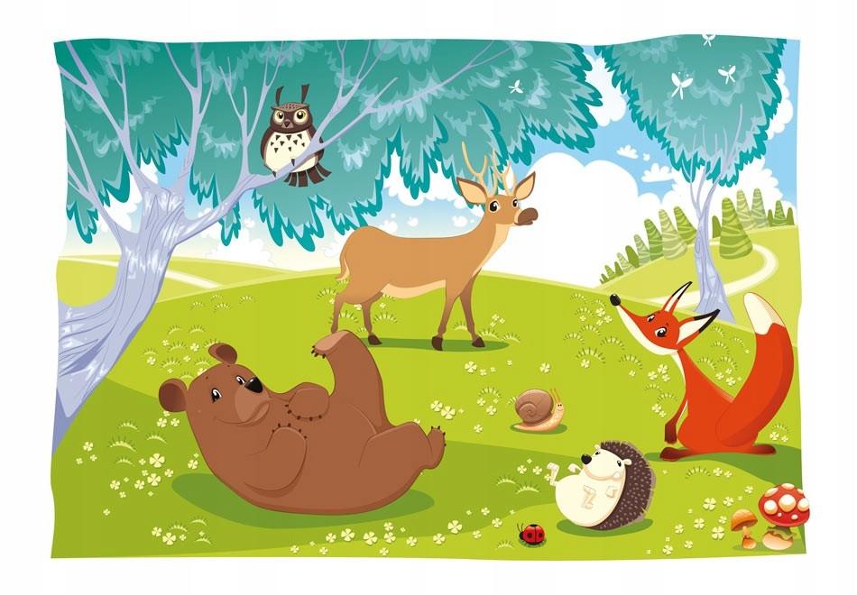 Fototapetas vaikų kambariui su miško žvėreliais