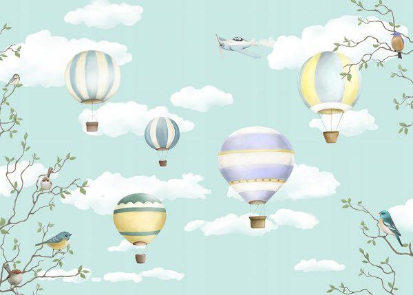 Fototapetas vaikų kambariui su oro balionais