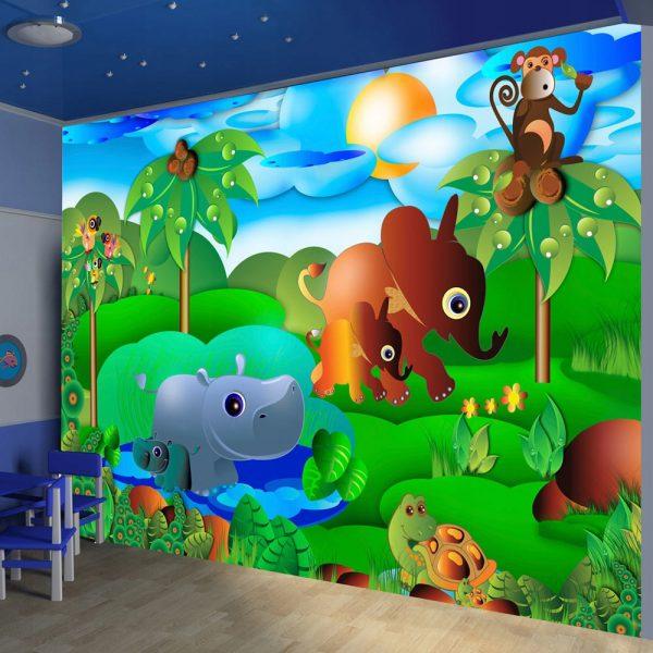 Fototapetas vaikų kambaryje. Atvaizdas: Afrikos džiunglės