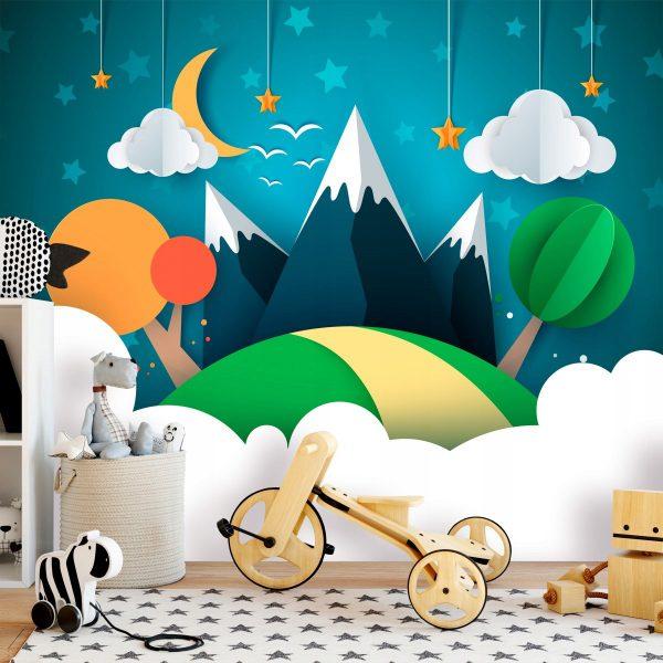 Fototapetas vaikų kambaryje (naktis kalnuose)
