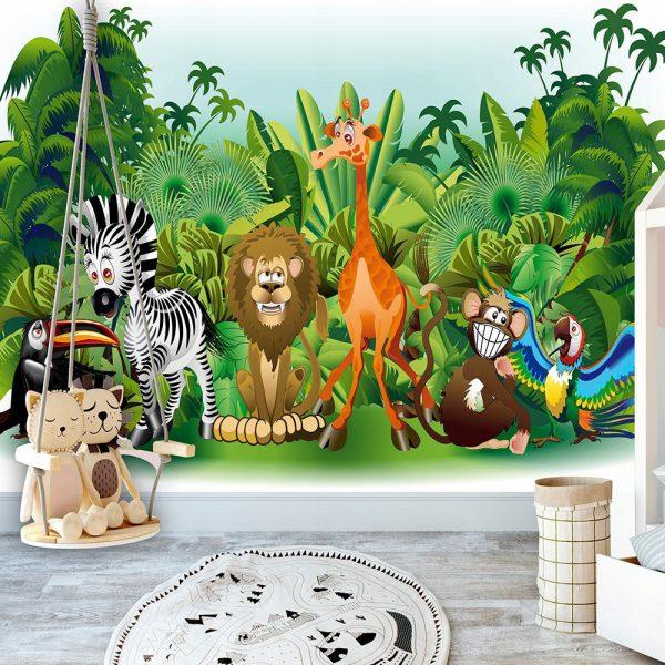 Fototapetas vaikų kambaryje (safaris: džiunglės, gyvūnai)