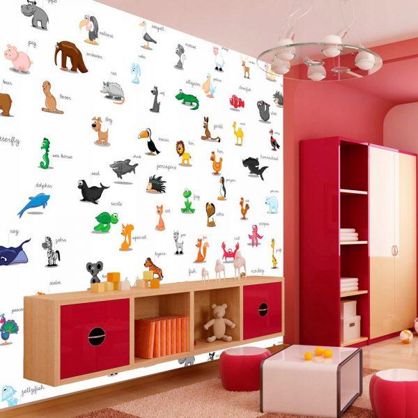 Fototapetas vaikų kambaryje su gyvūnais jų vardais
