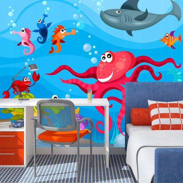 Fototapetas vaikų kambaryje su linksmais jūros dugno gyvūnais