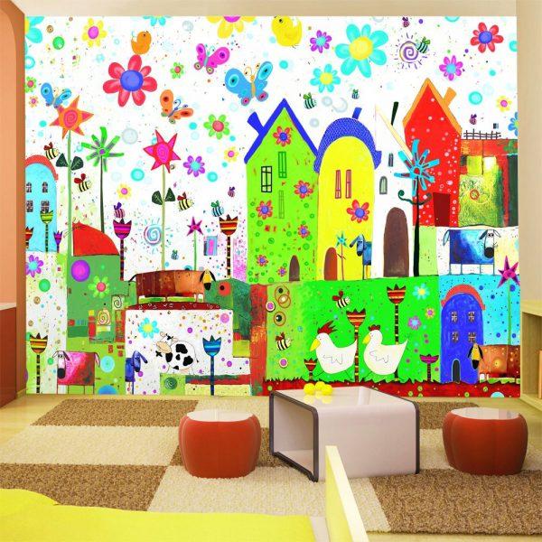 """Fototapetas """"Vaikų piešiniai"""" ant sienos"""