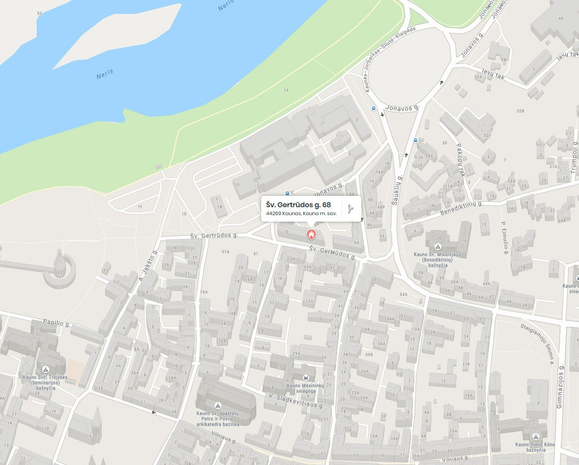 """""""Užuovėja"""" paveikslų rėminimas Kauno centre (žemėlapis)"""