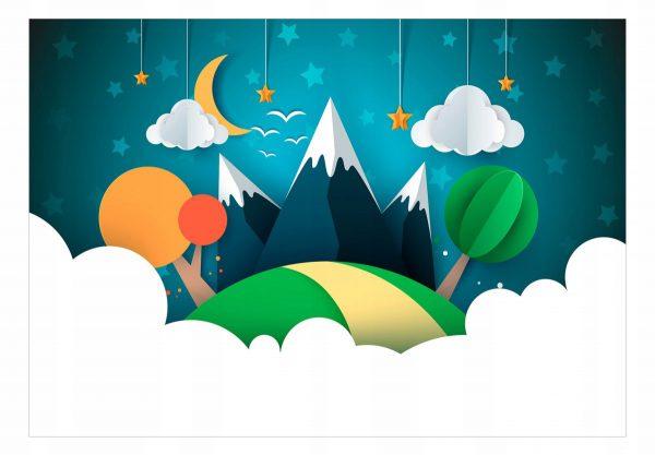 Vaikų kambario fototapetas (kalnai, naktis, medžiai, mėnulis, debesys)